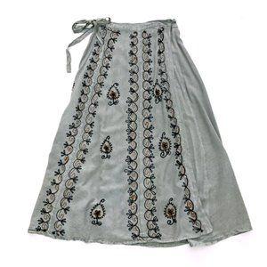 WOMEN'S Boho Hippie Maxi Green Skirt OS NEW